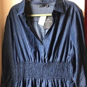Blue denim cinched waist dress US 3x